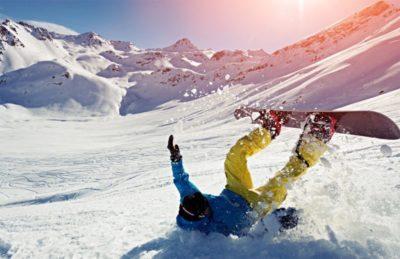 падение на сноуборде